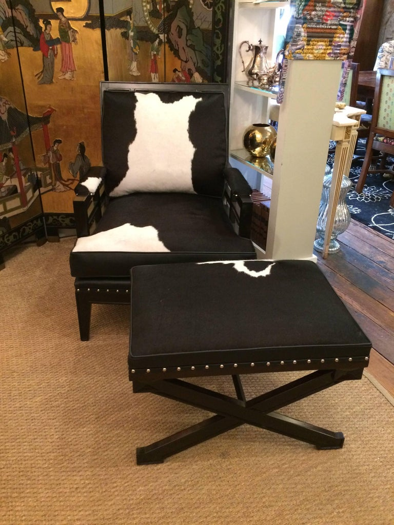 Sexy Black and White Leather Cowhide Club Chair and Ottoman For Sale 1