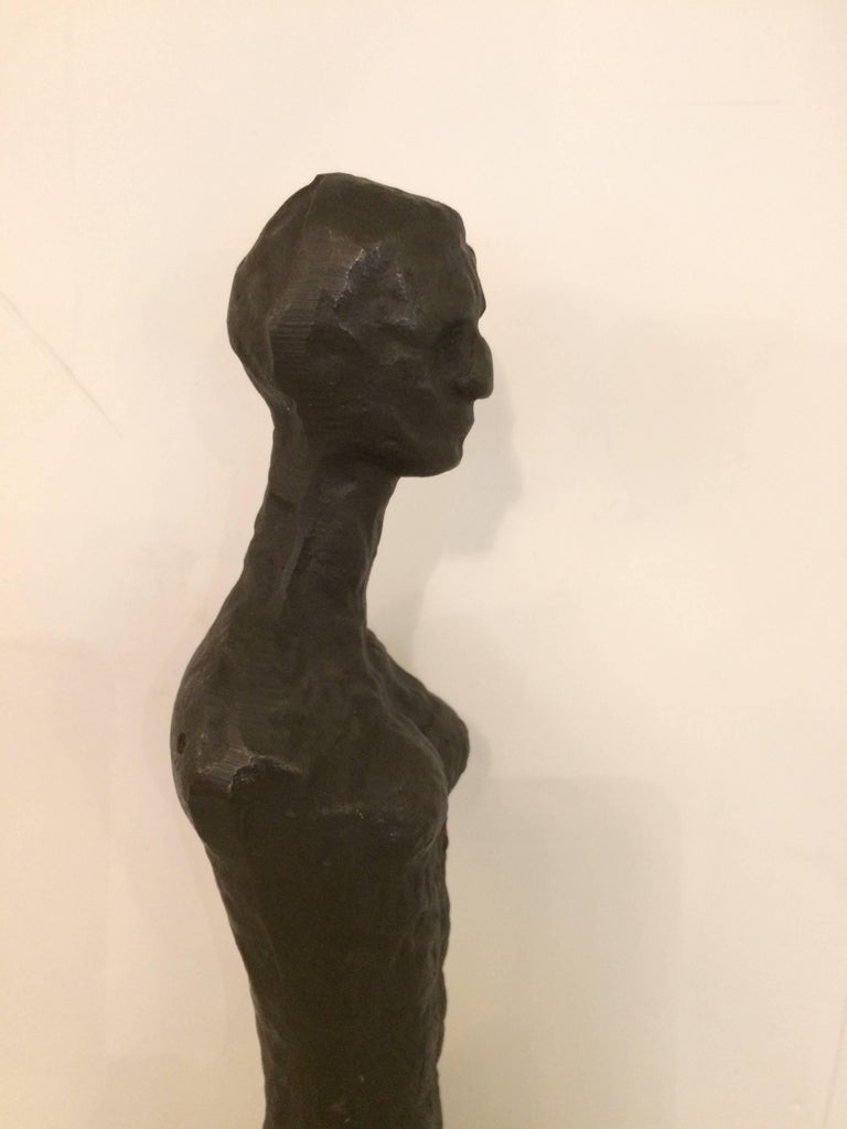 Stunning Original Giacometti Style Forged Iron Figural Sculpture In Excellent Condition For Sale In Hopewell, NJ