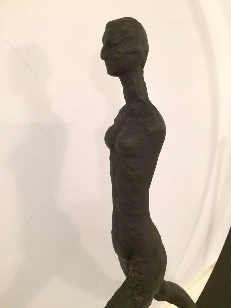 Late 20th Century Stunning Original Giacometti Style Forged Iron Figural Sculpture For Sale