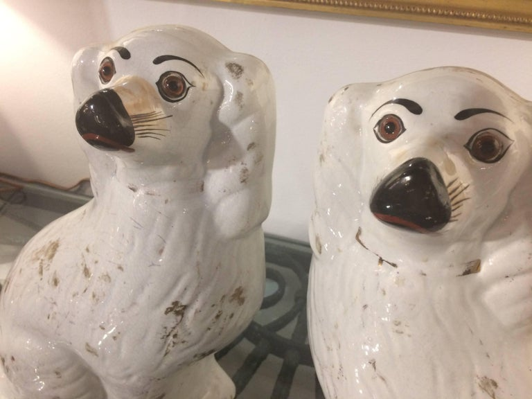 English Pair of Large Iconic Antique Staffordshire Dogs For Sale