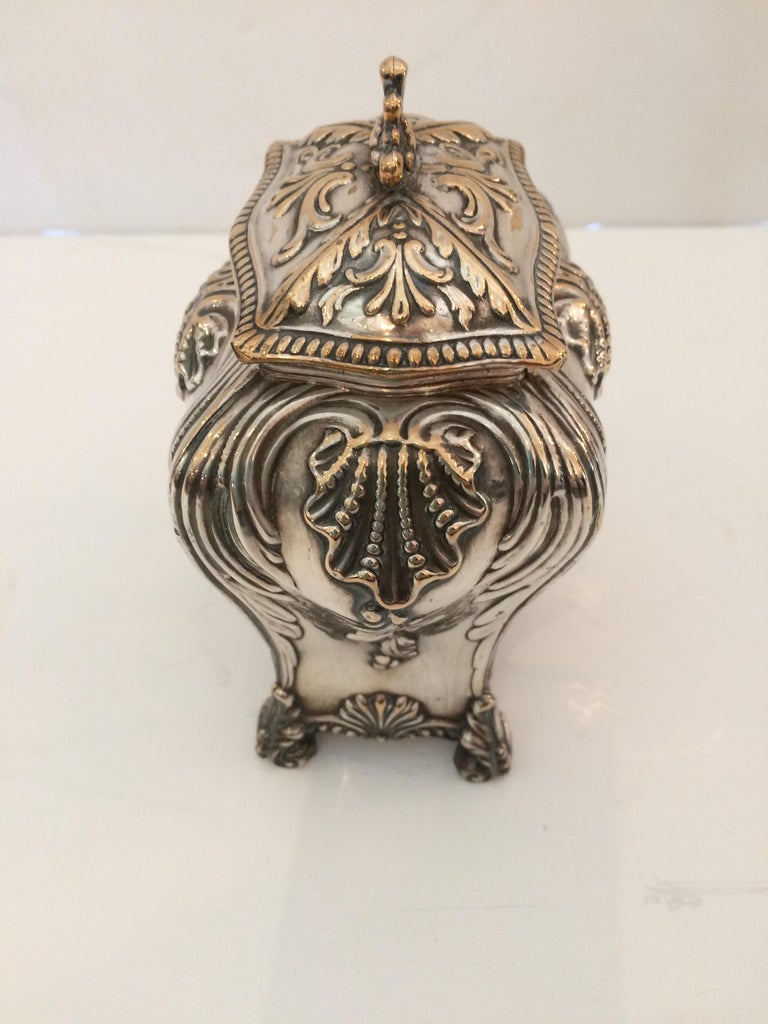 English Beautiful Rare Early Sheffield George III Silver Plate Tea Caddy For Sale