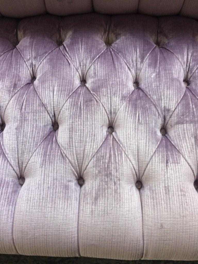 Contemporary Dreamy Soft Lavender Tufted Velvet Chesterfield Sofa For Sale