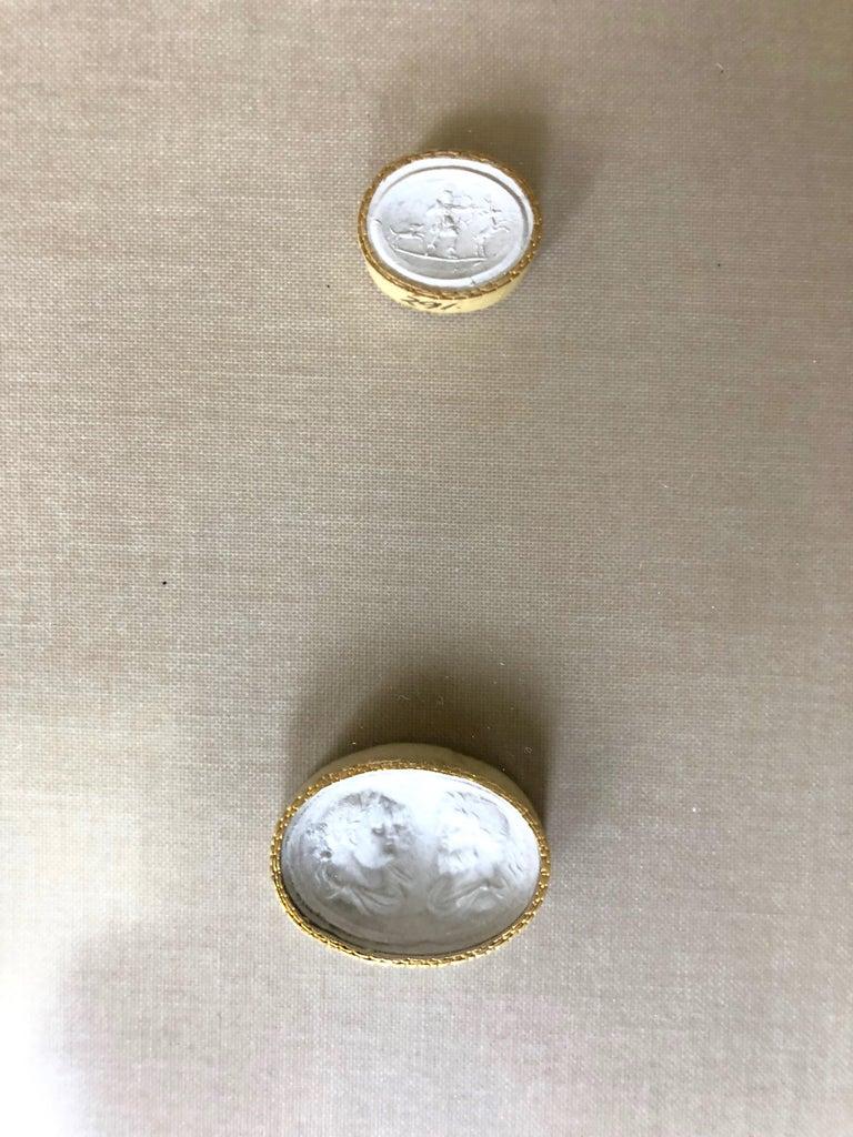 Pair of  Elegant Grand Tour Intaglios in Custom Frames For Sale 3