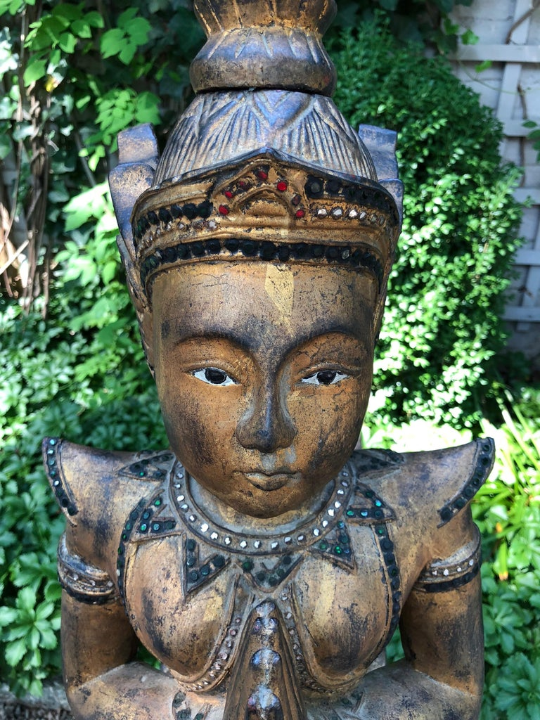Mid-20th Century Exotic and Large Thai Deity Sculpture For Sale