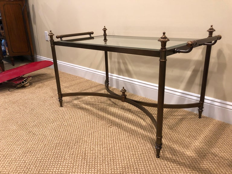 Classic Brass and Glass Coffee Table by La Barge For Sale 3