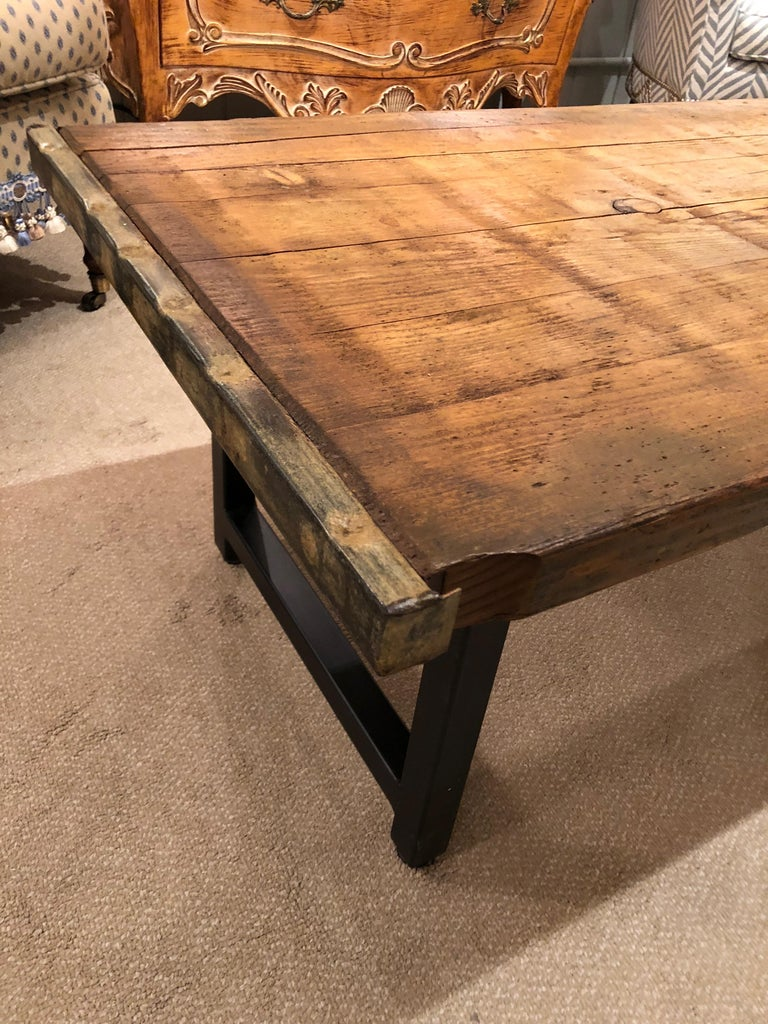 Steel Rustic Industrial Belgian Pallet Coffee Table For Sale