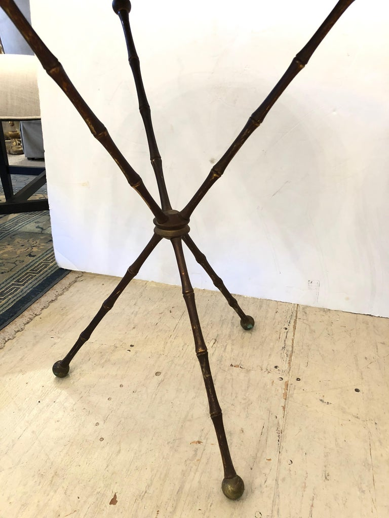 Campaign Superb Pair of Brass Faux Bamboo and Marble Top Side or End Tables For Sale