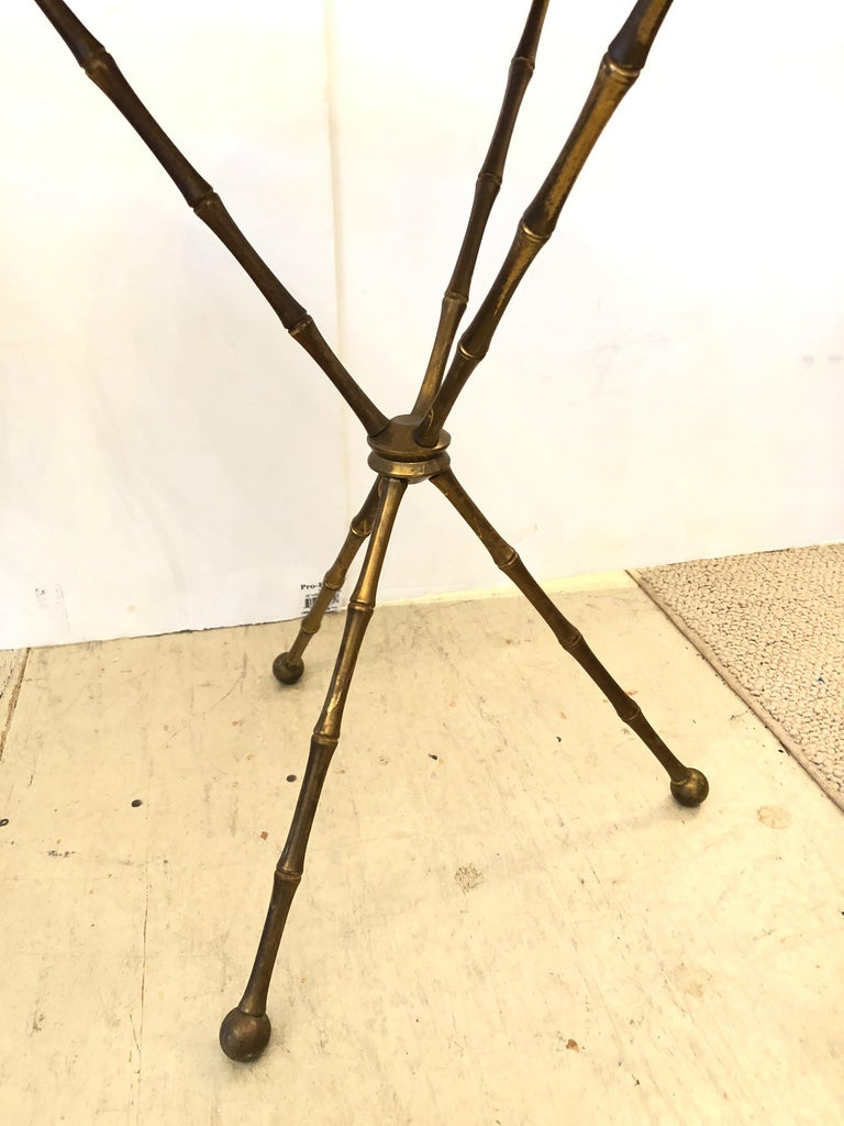 Superb Pair of Brass Faux Bamboo and Marble Top Side or End Tables In Good Condition For Sale In Hopewell, NJ
