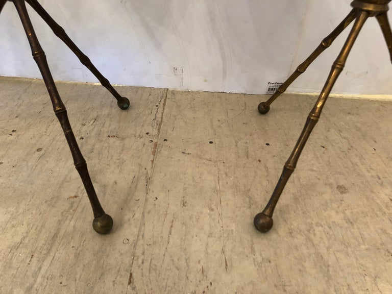 Mid-20th Century Superb Pair of Brass Faux Bamboo and Marble Top Side or End Tables For Sale
