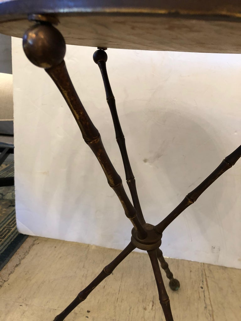 Superb Pair of Brass Faux Bamboo and Marble Top Side or End Tables For Sale 1