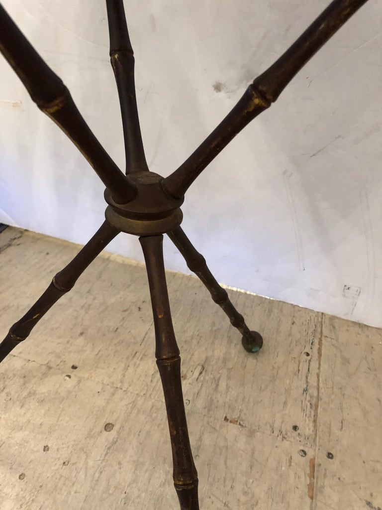 Superb Pair of Brass Faux Bamboo and Marble Top Side or End Tables For Sale 4