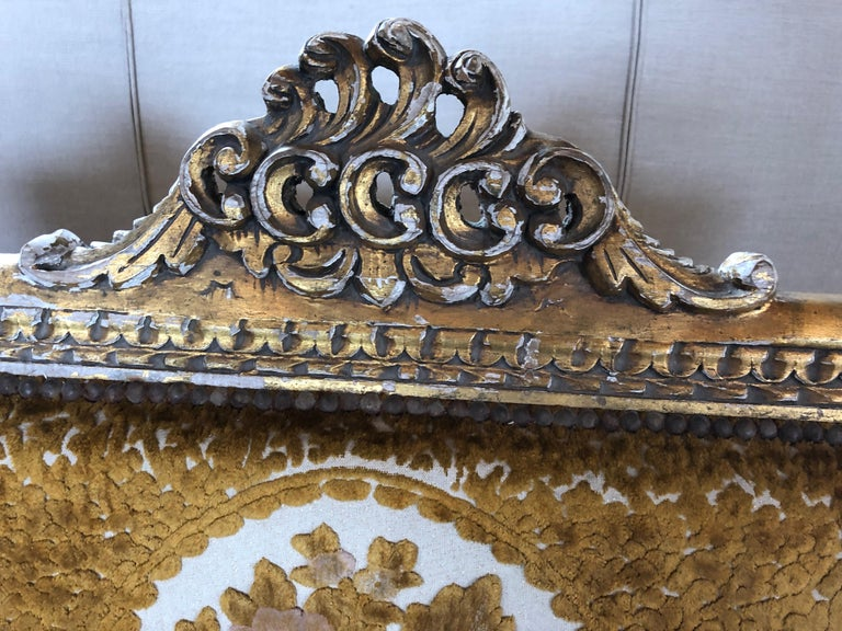 Neoclassical Meant for a Queen Giltwood and Cut Velvet Large French Sofa Settee For Sale