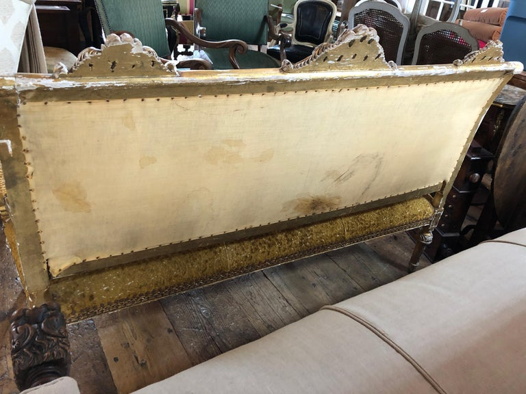 Meant for a Queen Giltwood and Cut Velvet Large French Sofa Settee For Sale 4