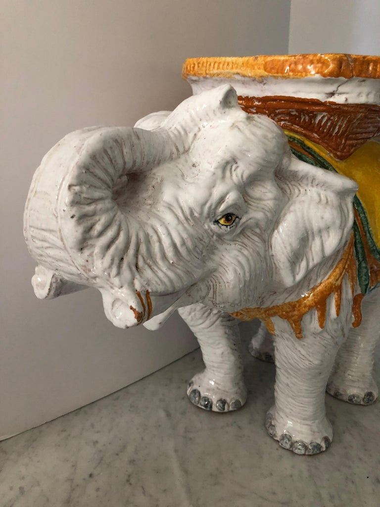 Late 20th Century Delightful Vintage Elephant Garden Seat Side or End Table For Sale