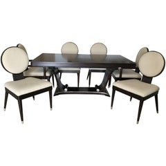 Fabulously Chic Italian Rosewood Dining Table and Chairs Dining Set