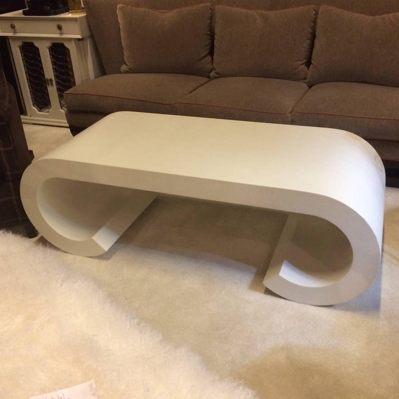 karl springer style cream faux shagreen coffee table at