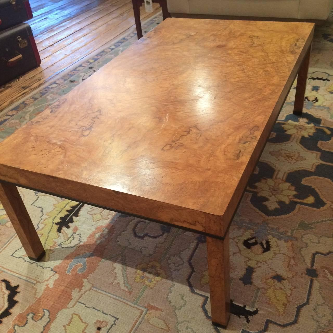 parsons style burl olive wood coffee table for sale at 1stdibs. Black Bedroom Furniture Sets. Home Design Ideas