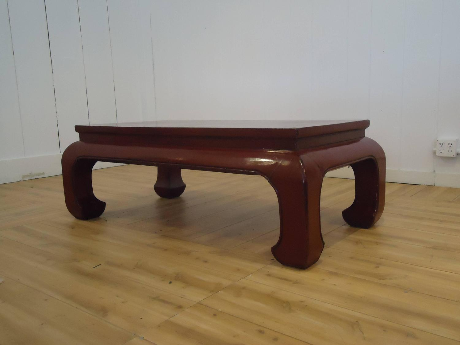 Stunning dark red lacquer chinese coffee table at 1stdibs for Oriental furniture nj