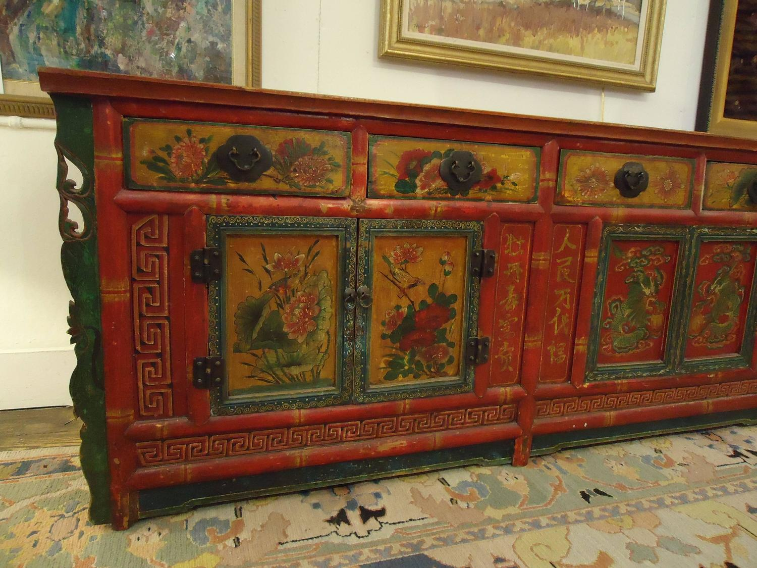 Gorgeous hand painted chinese sideboard cabinet at 1stdibs for Hand painted oriental furniture