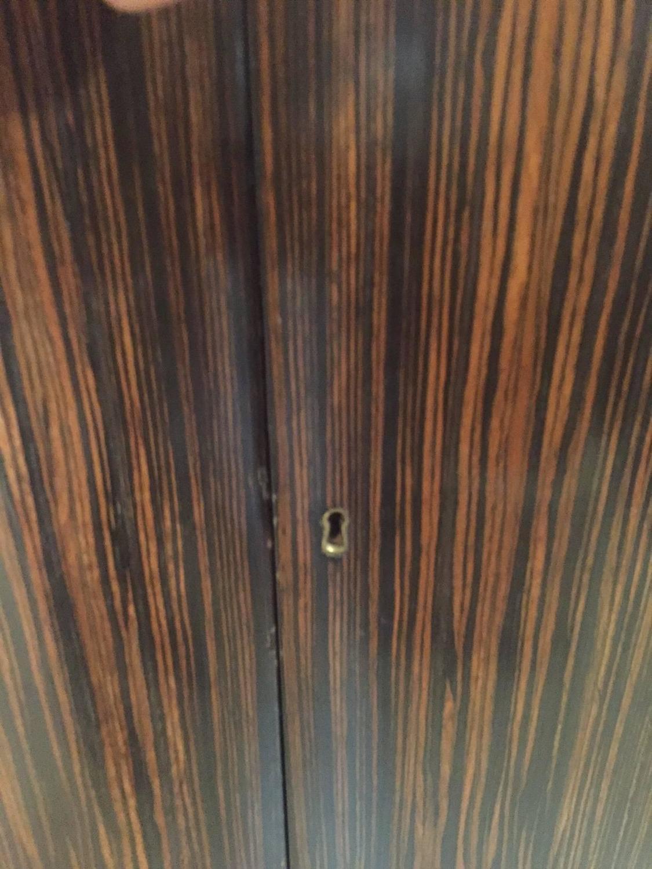 Zebra Wood Veneer Deco Demilune Cabinet For Sale at 1stdibs