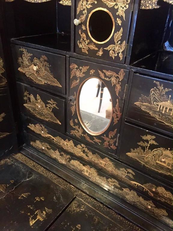 Chinese Export Gilt Decorated Black Lacquer Cabinet On Stand 3
