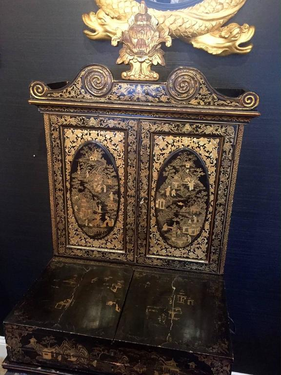 Chinese Export Gilt Decorated Black Lacquer Cabinet On Stand 2