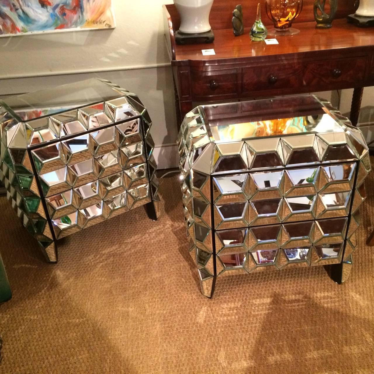 Multi dimensional mirrored nightstand end tables at 1stdibs for Multi night stand
