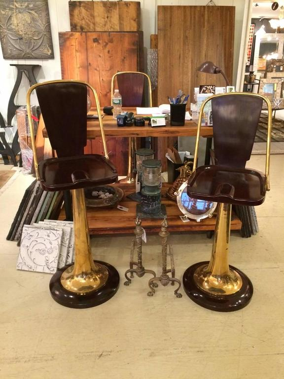 Three Art Deco Mahogany And Brass Bar Or Counter Stools At