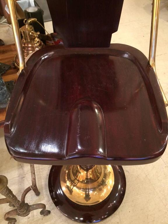 Three Art Deco Mahogany And Brass Bar Or Counter Stools At