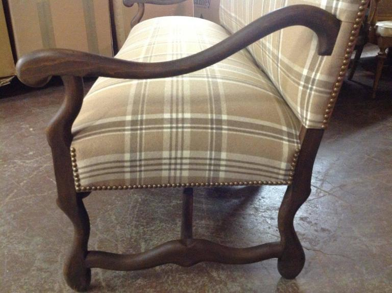 Vintage French Louis Xiii Style Loveseat Upholstered In