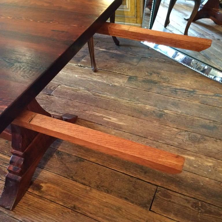 Reclaimed Pine Trestle Farm Table with Extensions at 1stdibs