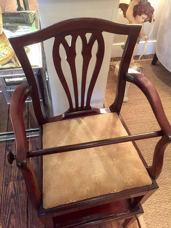 Charmant Antique Mahogany High Chair In Two Parts, Having A Shield Back Arm Chair  With Removeable