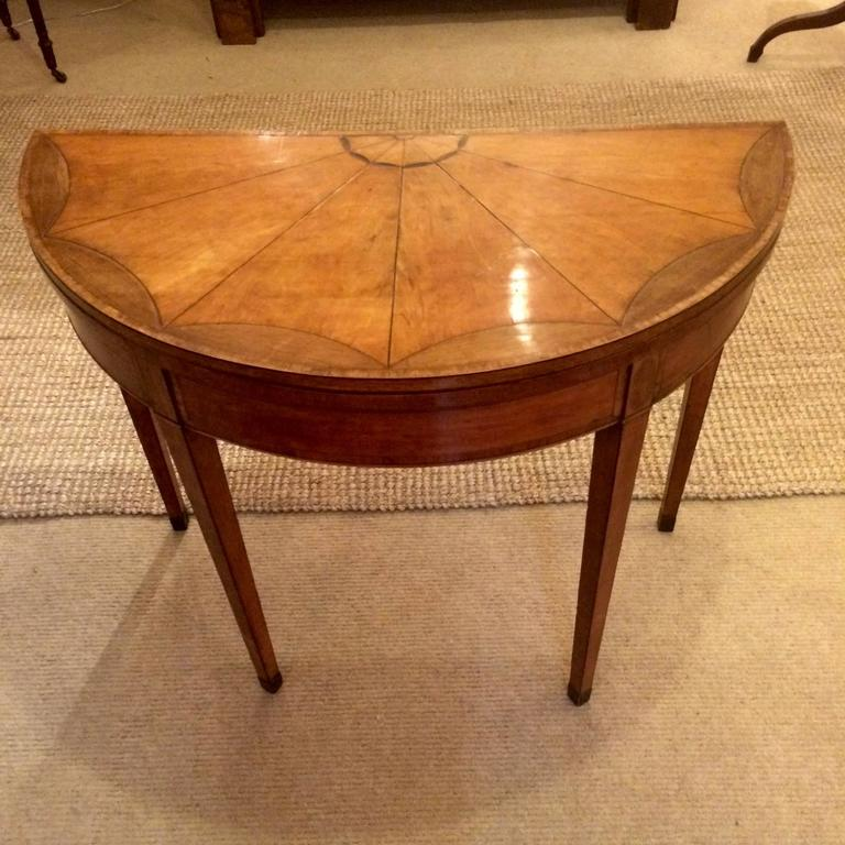 Superieur Rare Gorgeous Demilune Game Table With Honey Colored Mahogany And Satinwood  Inlay And A Wonderful Starburst