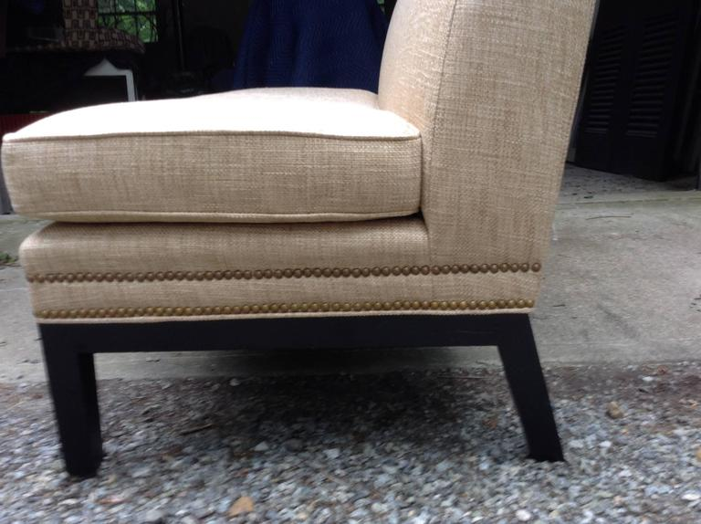 Sleek armless silouette, vintage sofa with single seat cushion, newly recovered in a