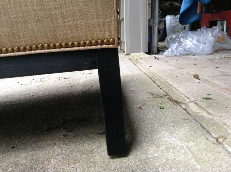 Sophisticated Mid-Century Armless Sofa with Ebonized Legs In Excellent Condition For Sale In Hopewell, NJ