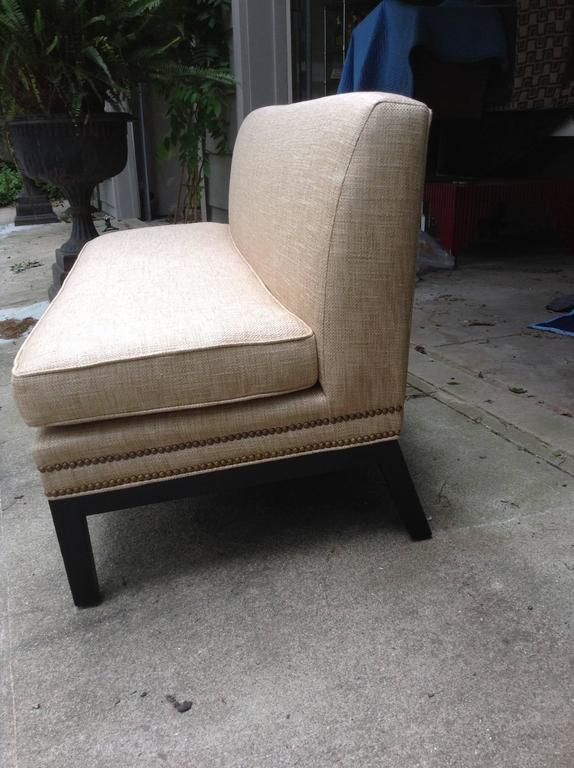 Mid-20th Century Sophisticated Mid-Century Armless Sofa with Ebonized Legs For Sale