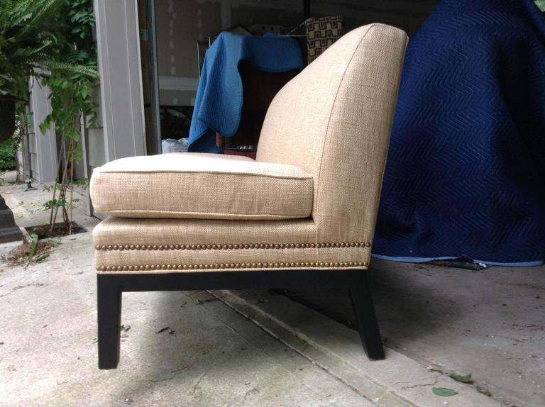American Sophisticated Mid-Century Armless Sofa with Ebonized Legs For Sale