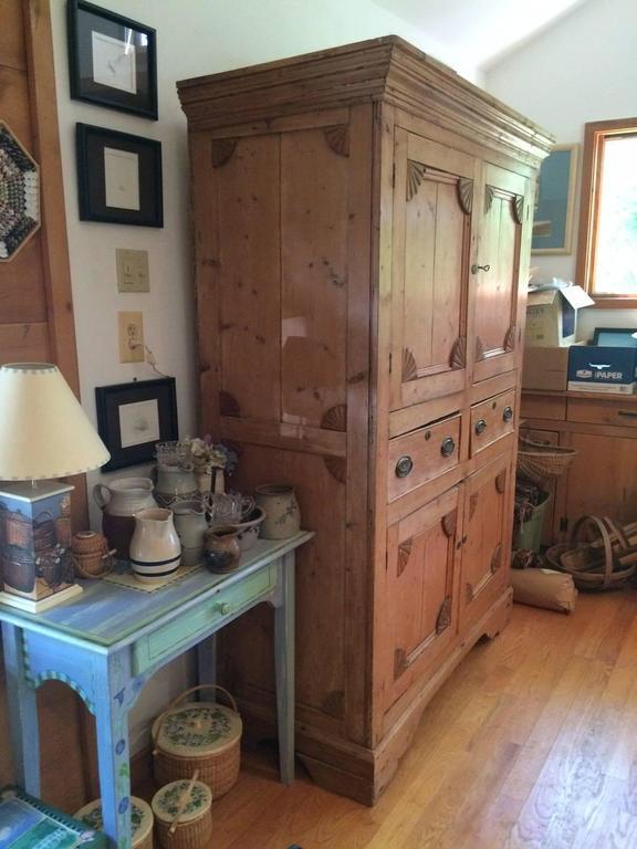 Wonderful Antique Rustic Pine Linen Press Cabinet At 1stdibs