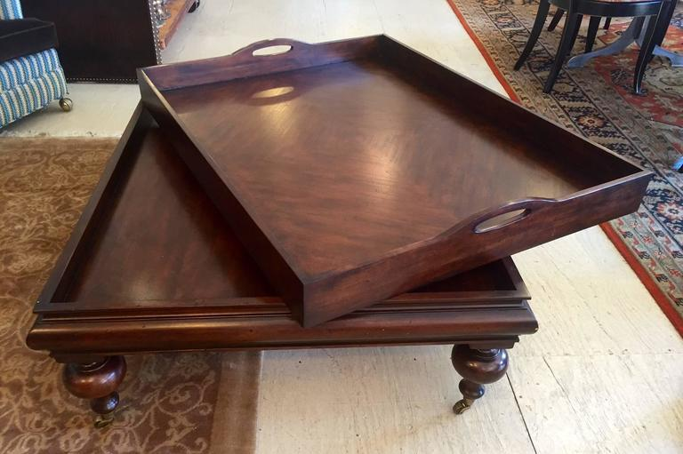 Large Elegant Mahogany Coffee Table With Removable Butler S Tray Top And Chunky Ball Legs On Br