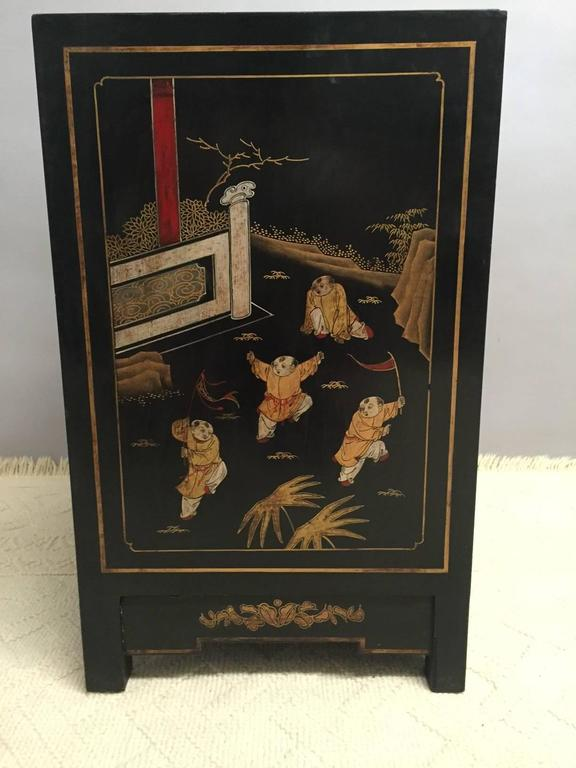 Splendid Pair Of Chinese Hand Painted Black Laquer Chests