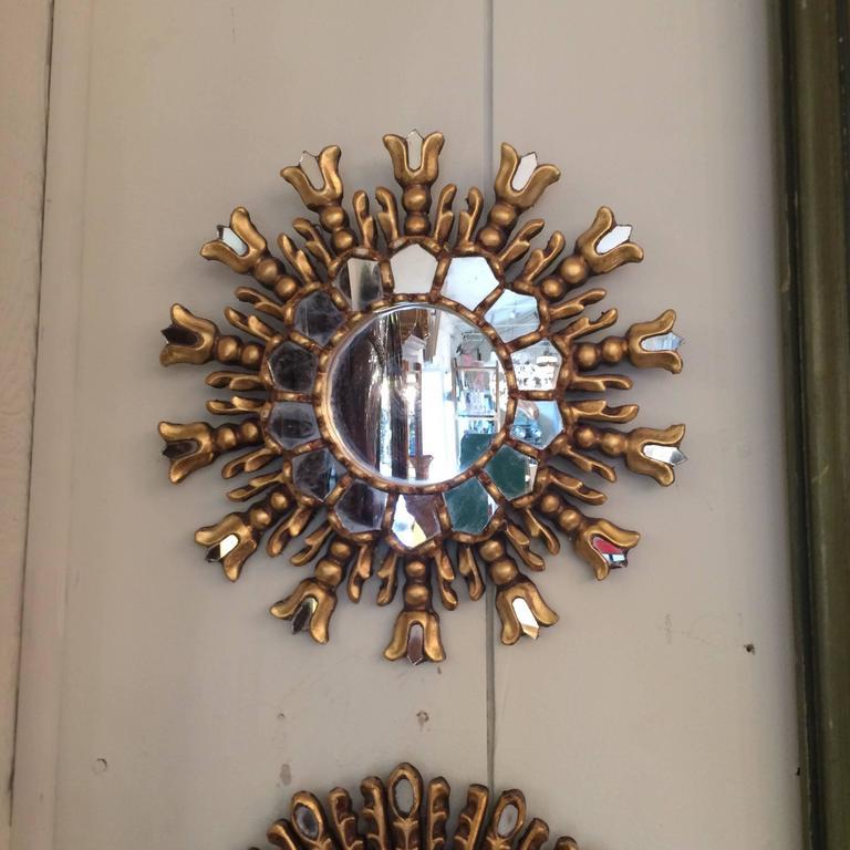This italian circular wooden wall mirror is no longer available - Trio Of Vintage Italian Sunburst Mirrors At 1stdibs