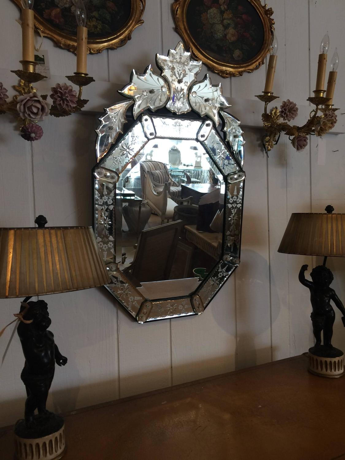 Fancy vintage venetian mirror for sale at 1stdibs for Fancy mirrors for sale
