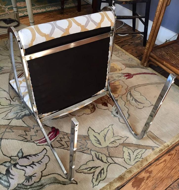 Pair of Mid-Century Modern Chrome and Chenille Armchairs For Sale 2