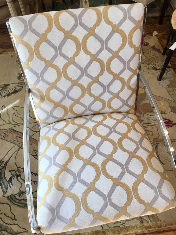 American Pair of Mid-Century Modern Chrome and Chenille Armchairs For Sale