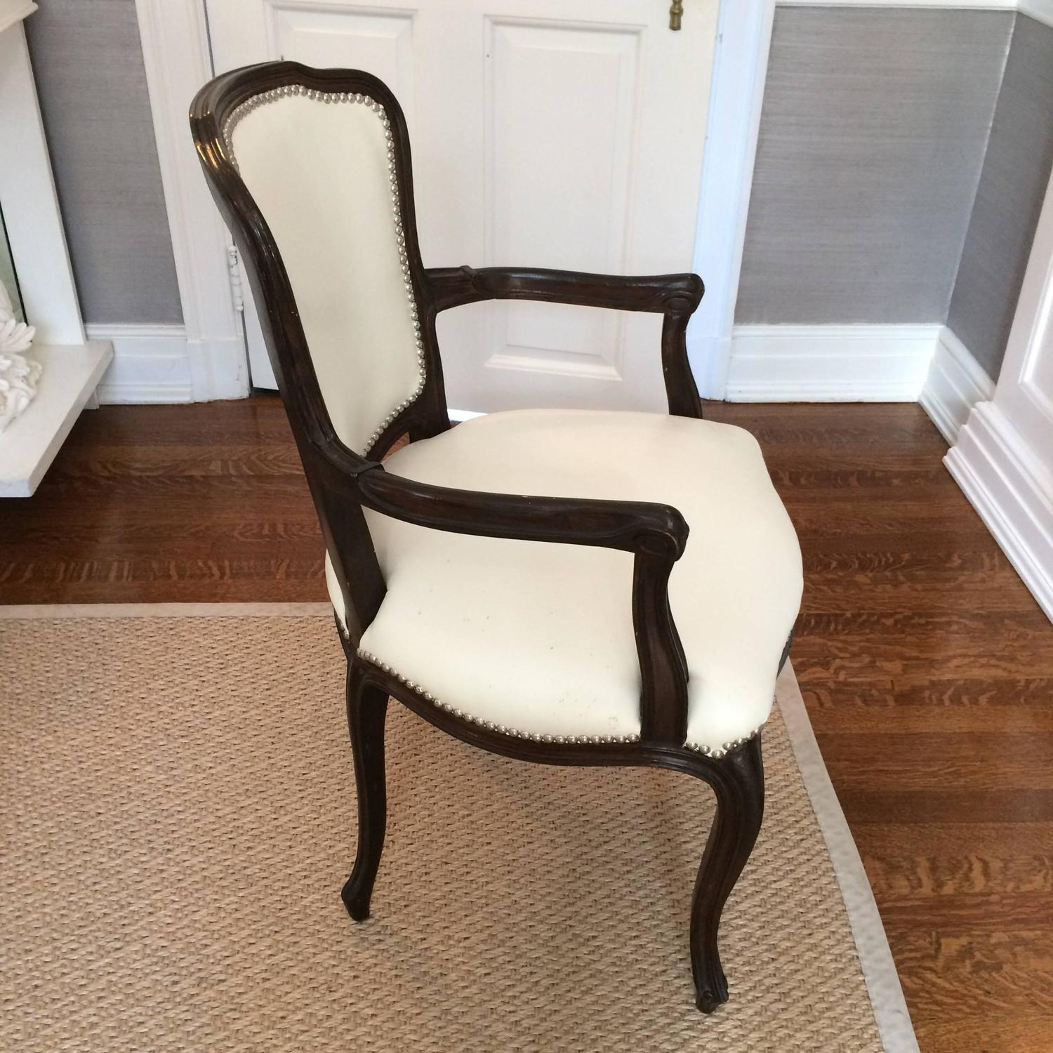 Set of Ten Glam Vintage Dining Chairs in Updated White