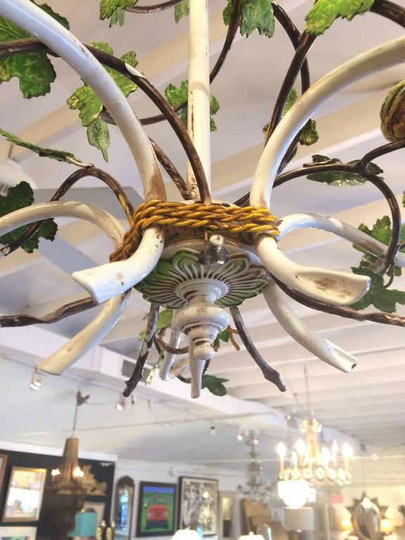 Whimsical french iron and tole chandelier with leaves and birds at whimsical french iron and tole chandelier with leaves and birds for sale 3 mozeypictures Image collections