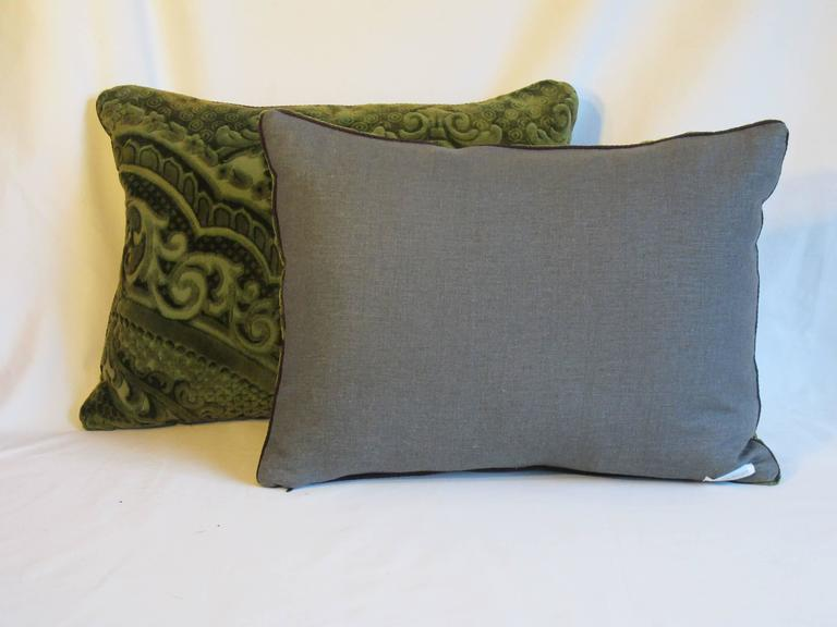 Pillows made from a circa 1880s cut velvet textile, in a sumptuous mossy green, backed with a coordinating linen, with a hidden zipper closure, down insert included, $425 each.