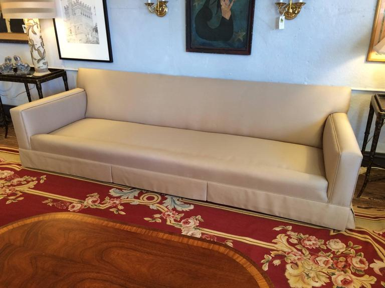 Sophisticated Custom Very Long Khaki Sofa In Excellent Condition For Sale In Hopewell, NJ