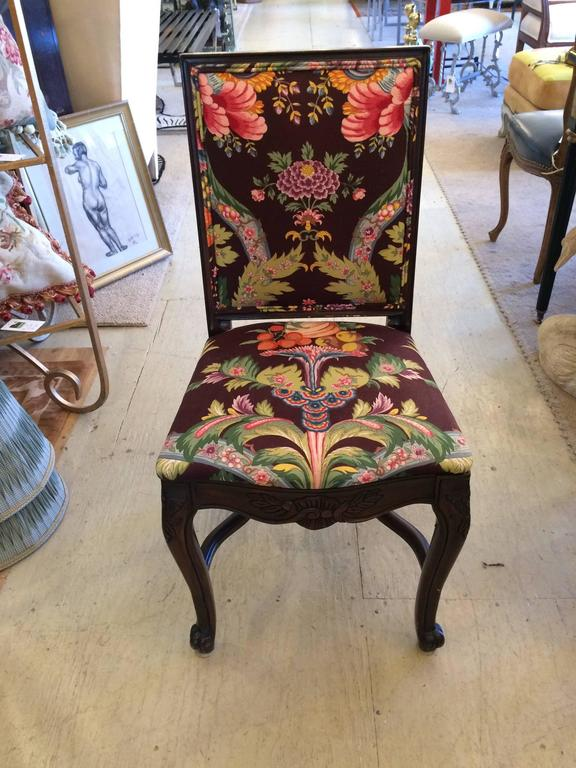 Set of Six Carved Mahogany Dining Chairs with Brunschwig and Fils Upholstery For Sale 2