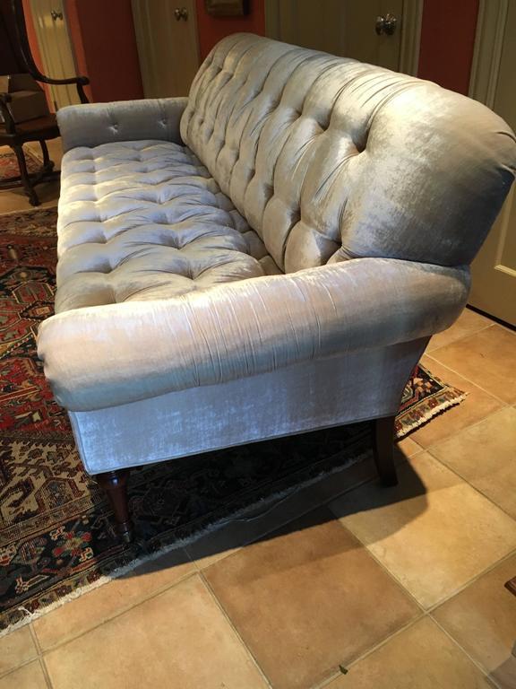 Movie Star Glamorous Champagne Silk Velvet Tufted Sofa At